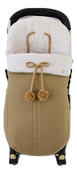 Saco silla de paseo universal de invierno en punto de lana y algodón de rayas. Modelo sophie. Camel/camel