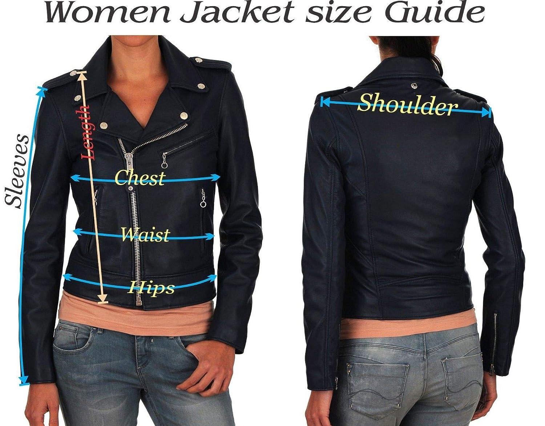 Womens Black Genuine Lamb Biker Bomber Ladie Leather Jacket