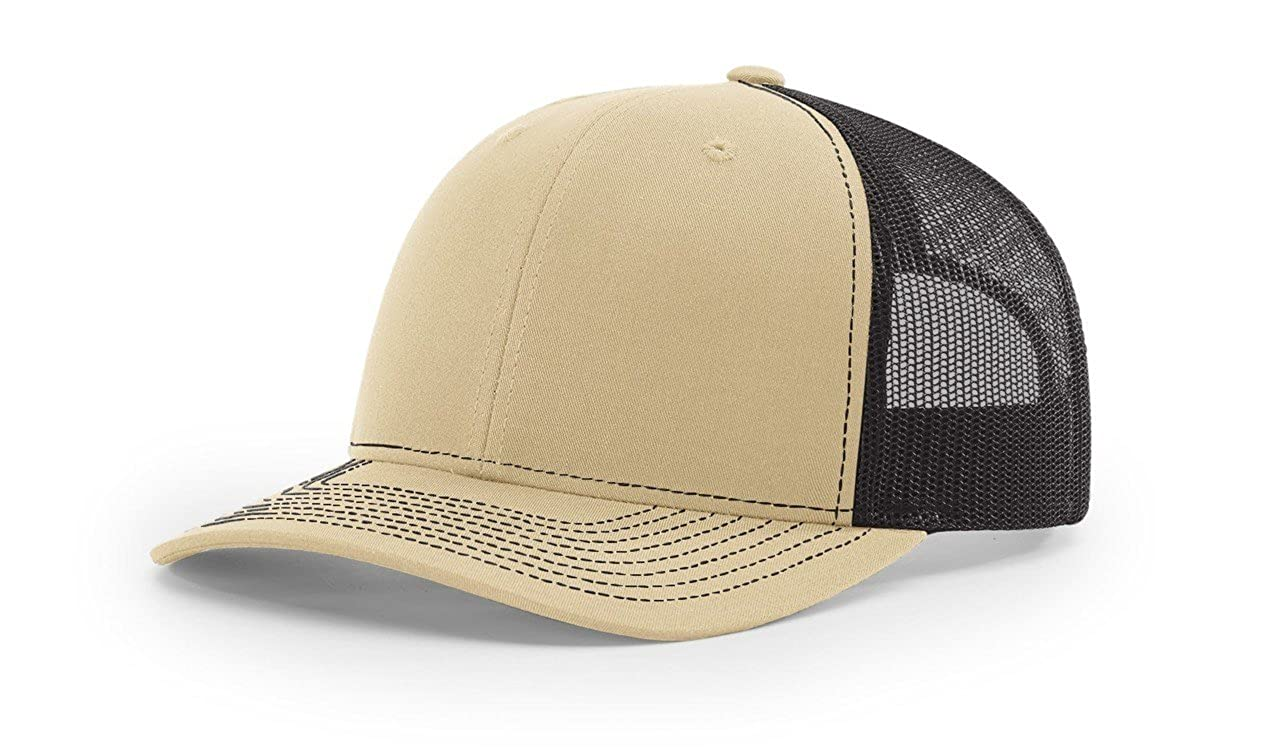 99bca4403f4 Amazon.com  Richardson Khaki Coffee 112 Mesh Back Trucker Cap Snapback Hat  w THP No Sweat Headliner  Clothing