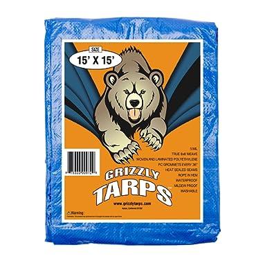 BluDri GTRP1515 Grizzly Tarps 15 x 15 Feet Blue Multi Purpose Waterproof Poly Tarp Cover 5 Mil Thick 8 x 8 Weave