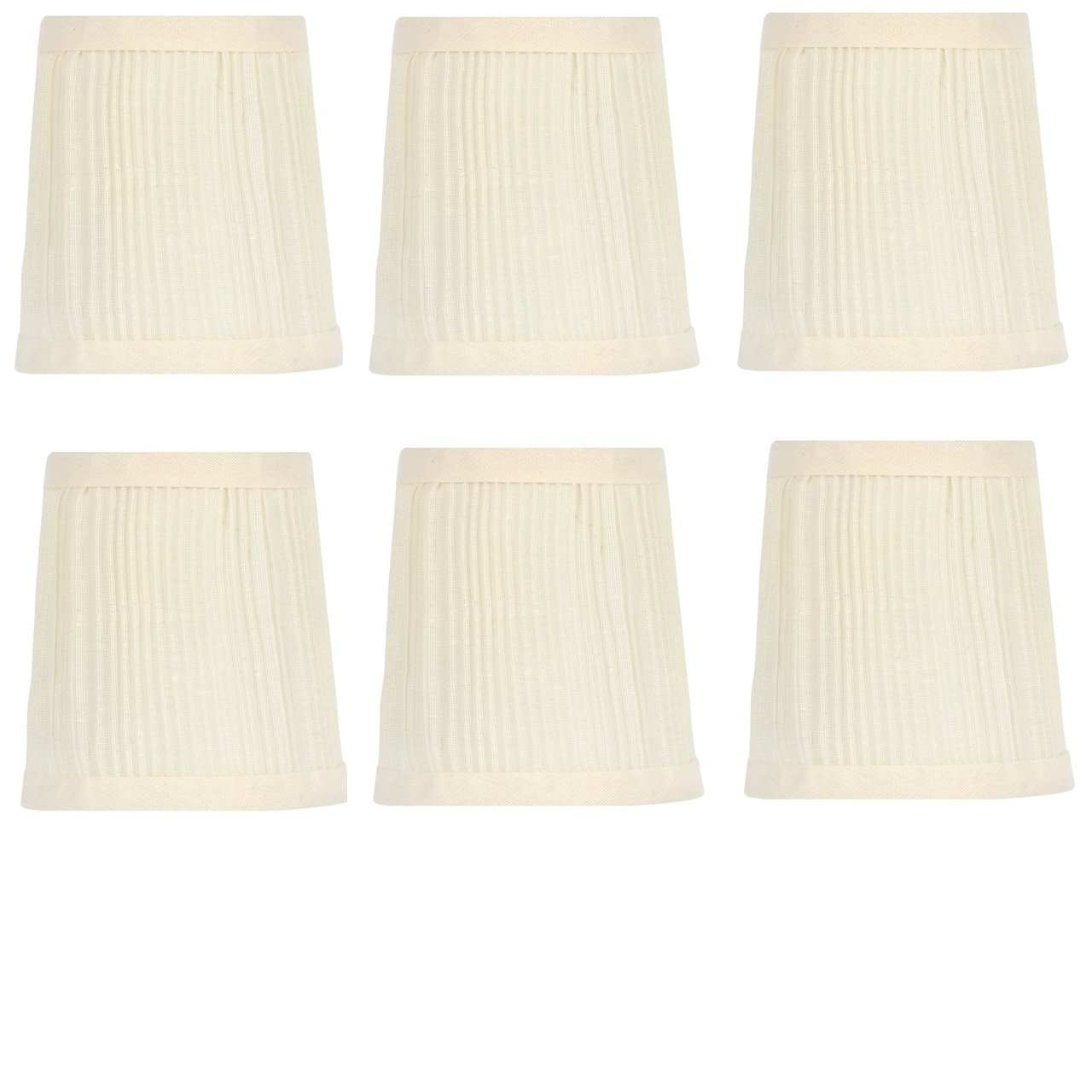 Upgradelights 4 Inch Pleated Retro Drum Chandelier Lamp Shades In Eggshell Set Of Six 3x4x4 Com