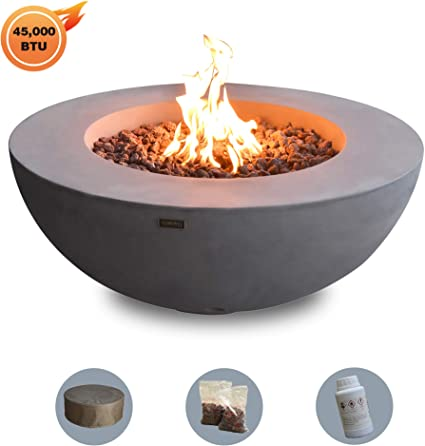 Amazon Com Elementi Fire Pit Outdoor Natural Gas Fireplace Patio Fire Bowl 45 000btu Output Round Fire Table With 13 2lbs Lava Rocks Tank Cover For Fire Bowl Available Lunar Bowl Series Grey