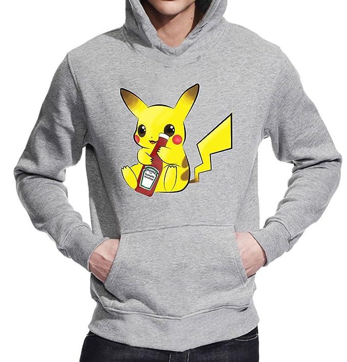 Pikachu Ketchup camiseta Unisex Jersey sudadera con capucha Gris gris large: Amazon.es: Ropa y accesorios