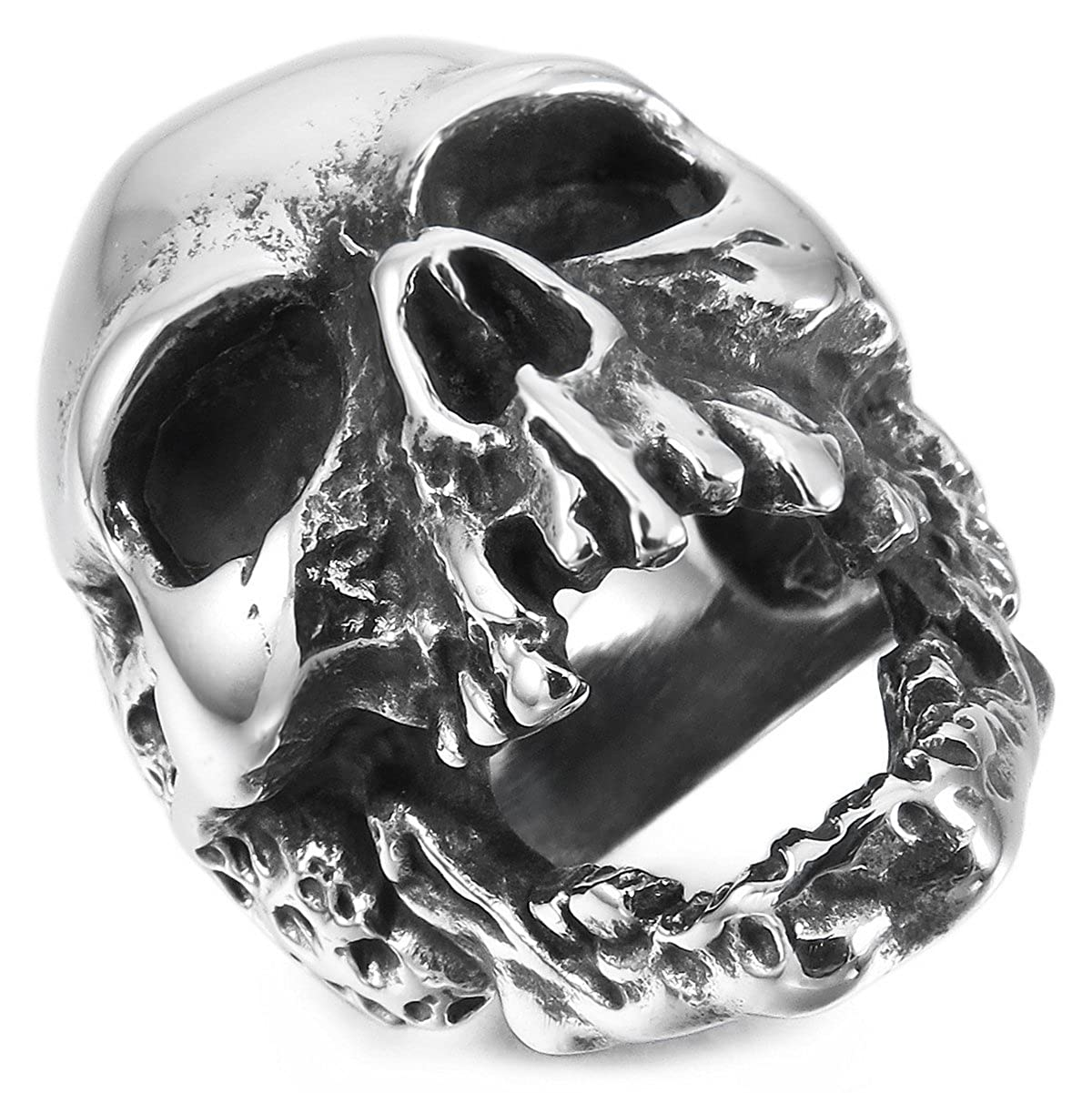 MunkiMix Grande Gran Acero Inoxidable Anillo Ring El Tono De Plata Cráneo Calavera Gótico Gothic Hombre ve963-parent