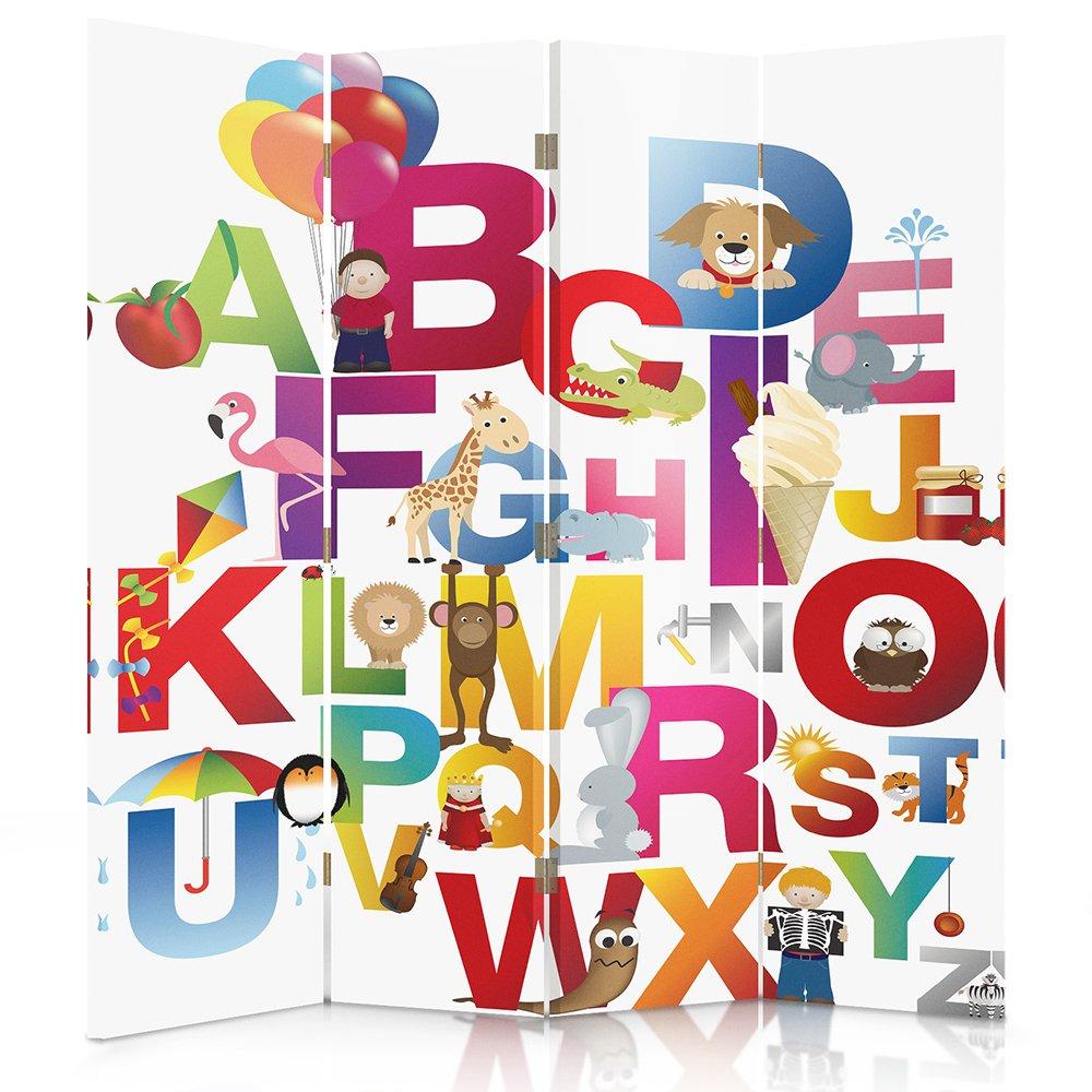 Feeby Frames Biombo impreso sobre lona, tabique decorativo para habitaciones, a una cara, de 4 piezas (145x180 cm), ABECEDARIO, MULTICOLORE