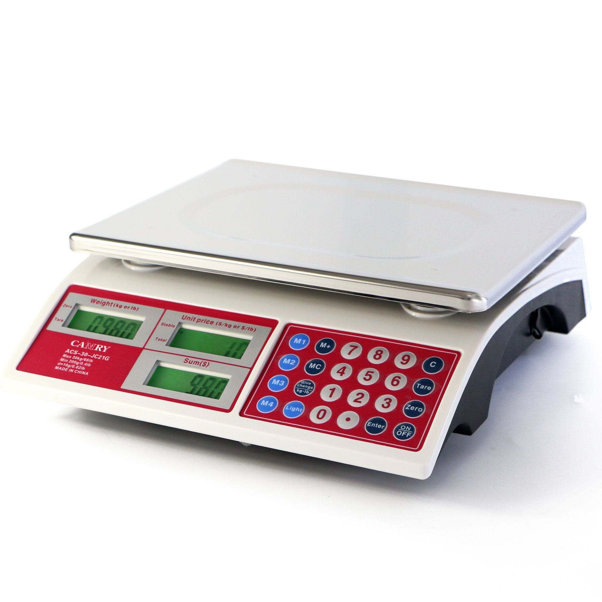 Camry Digital Commercial Price Scale 66lb / 30kg for Food Meat Fruit Produce with Green Backlight LCD Display 15 Inches Platform Battery Included Not For Trade by CAMRY