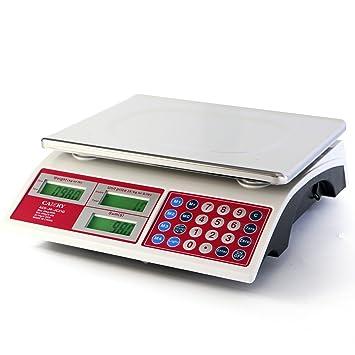 Camry 15kg/33lb Báscula de precios digitales para Alimentos con 37cm Plataforma de Pantalla Dual de LED Roja Brillante, Batería: Amazon.es