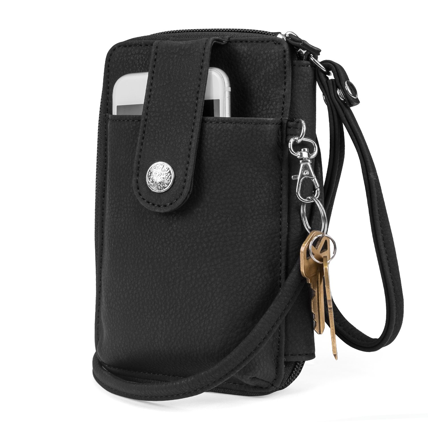 Mundi Jacqui Vegan Leather RFID Womens Crossbody Cell Phone Purse Holder Wallet (Black (Nubie))