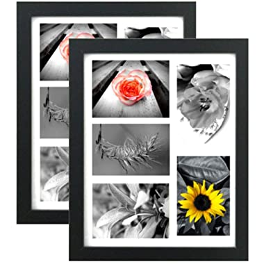 Tasse Verre (2-Pack) Collage Picture Frame 11x14 - Black with High Definition Glass Front Cover - Frames Display Five 4x6 Inch Family Pictures with Mat - Hanging Hardware Pre-Installed