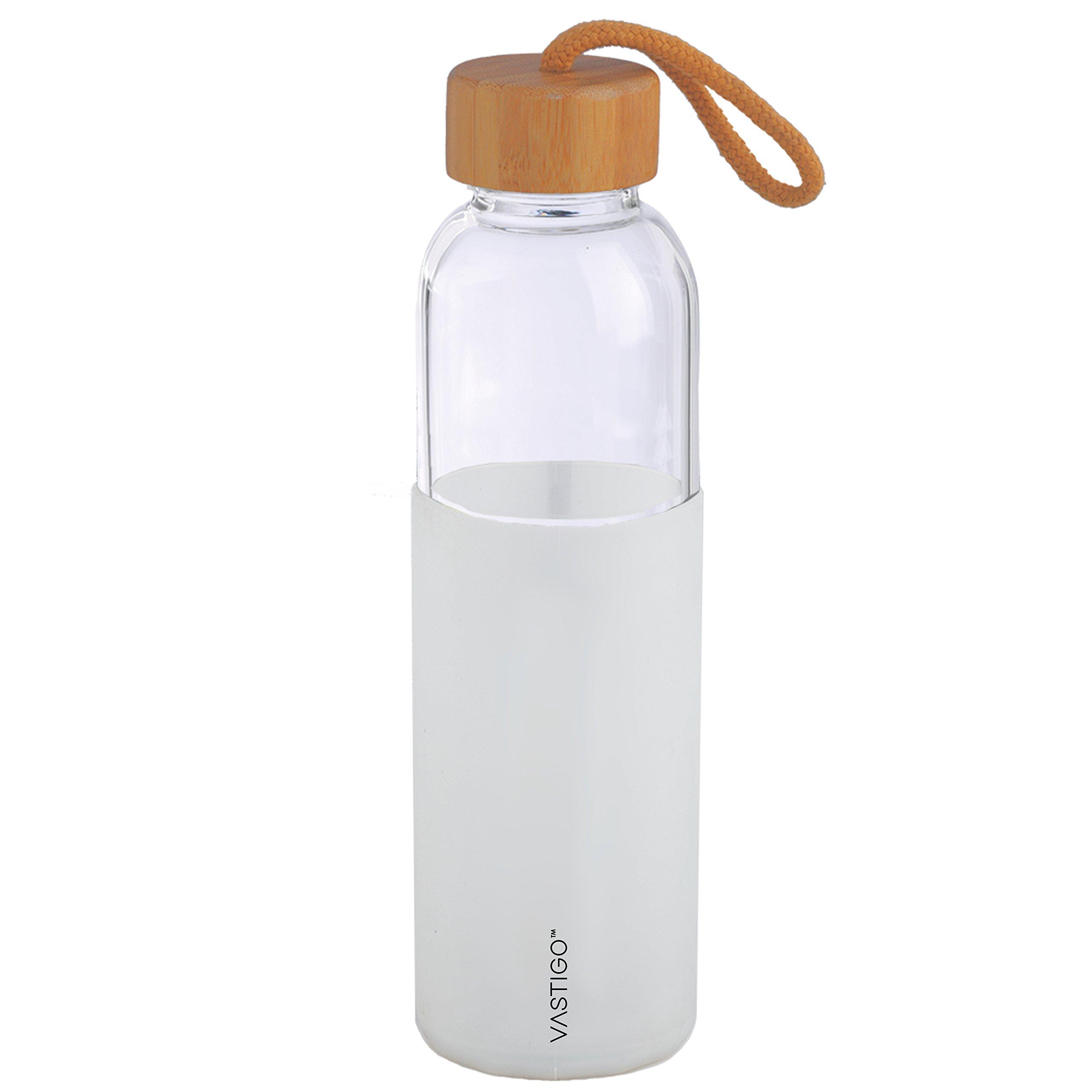 Vastigo 18 oz Borosilicate Glass Bottle Sleek Design w/White Silicone Sleeve, Bamboo Lid, and Rope Handle   Eco Friendly