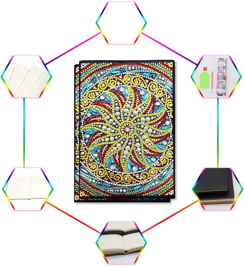 5D DIY Diamond Art Teens Notebook Blank A5,Writing Note Book Secret Diary for Kids drawling Cool Sketch Book for Beginners journals for Men with Colourful Diamonds Mandala for Office//Home//Art Use