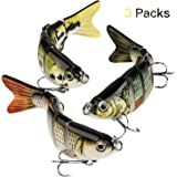 CharmYee Bass Fishing Lure Topwater Bass Lures Fishing Lures Multi Jointed Swimbait Lifelike Hard Bait Trout Perch Pack…