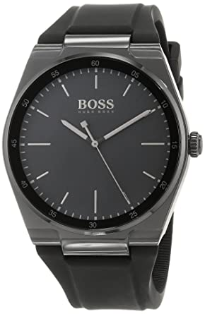 4c2a69d90 Hugo Boss 1513565 Men's Quartz Watch, Analog Display and Silicone Strap,  Black