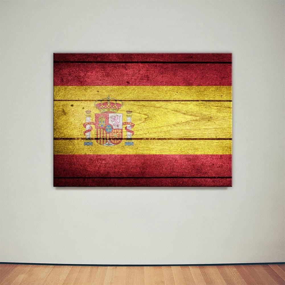 Amazon.com: JHYS Spain Flag Pattern Wood Grain Decoration Canvas ...