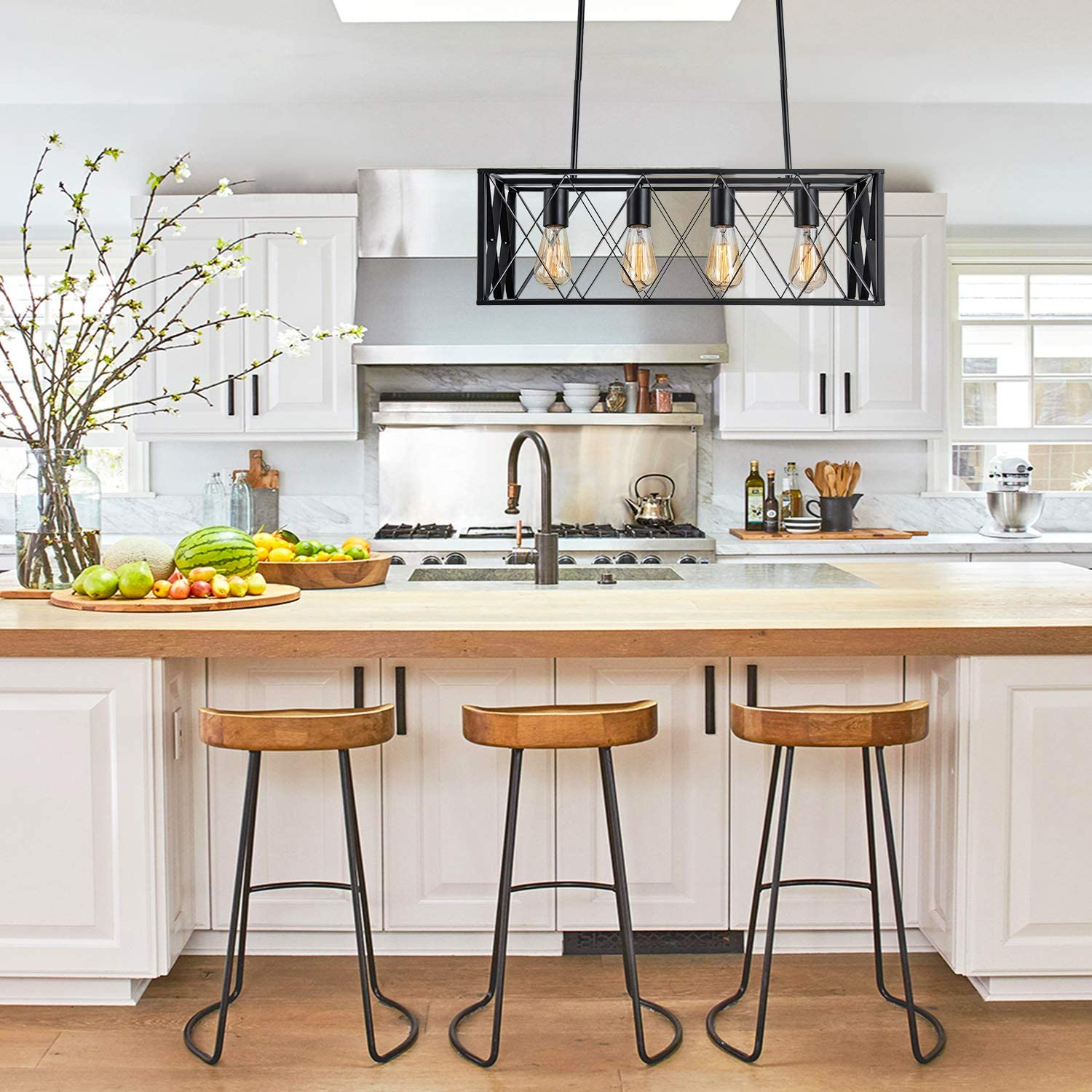 Vintage Liner Kitchen Hanging Light Fixture with 4 Lights Kitchen Island Chandelier Farmhouse Rectangle Pendant Light Fixture for Dining Room