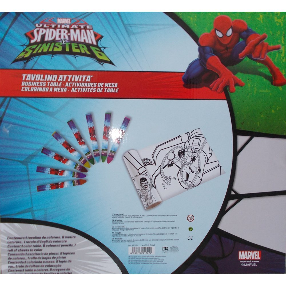Tavolo Spiderman Marvel Con Immagini Da Colorare E Colori Tavolino