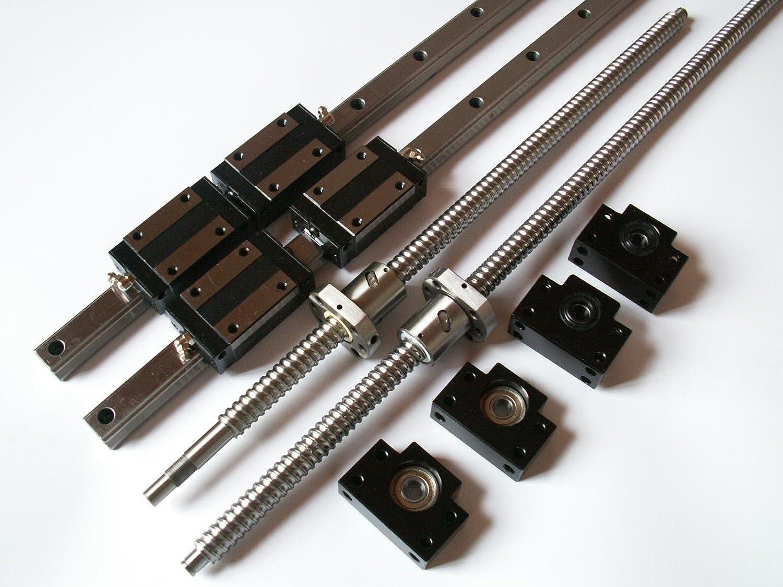 CNC Set 25-1200mm 2x Linear Guideway Rail 4x Square type carriage bearing block