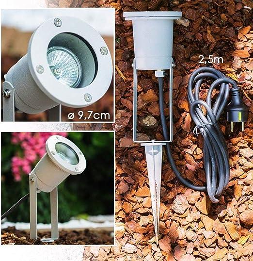 Foco para jardín - terraza, exterior, suelo - Lámpara de jardín con enchufe Schuku - Lámpara de aluminio: Amazon.es: Iluminación