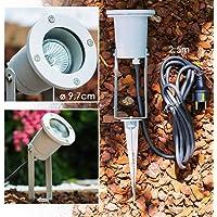 Foco para jardín - terraza, exterior, suelo - Lámpara de jardín con enchufe Schuku - Lámpara de aluminio