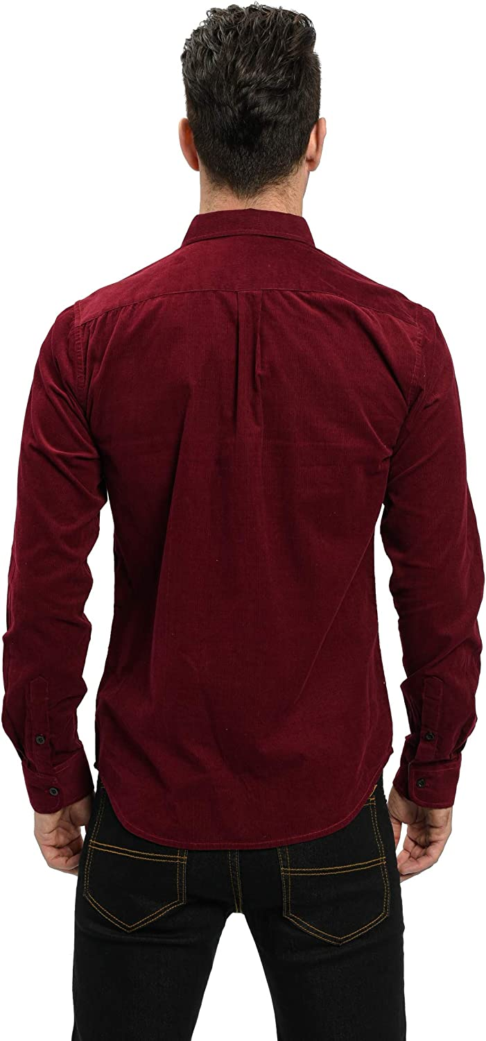 VICALLED Mens Cotton Lightweight Corduroy Shirt Solid Color Long-Sleeve Tops