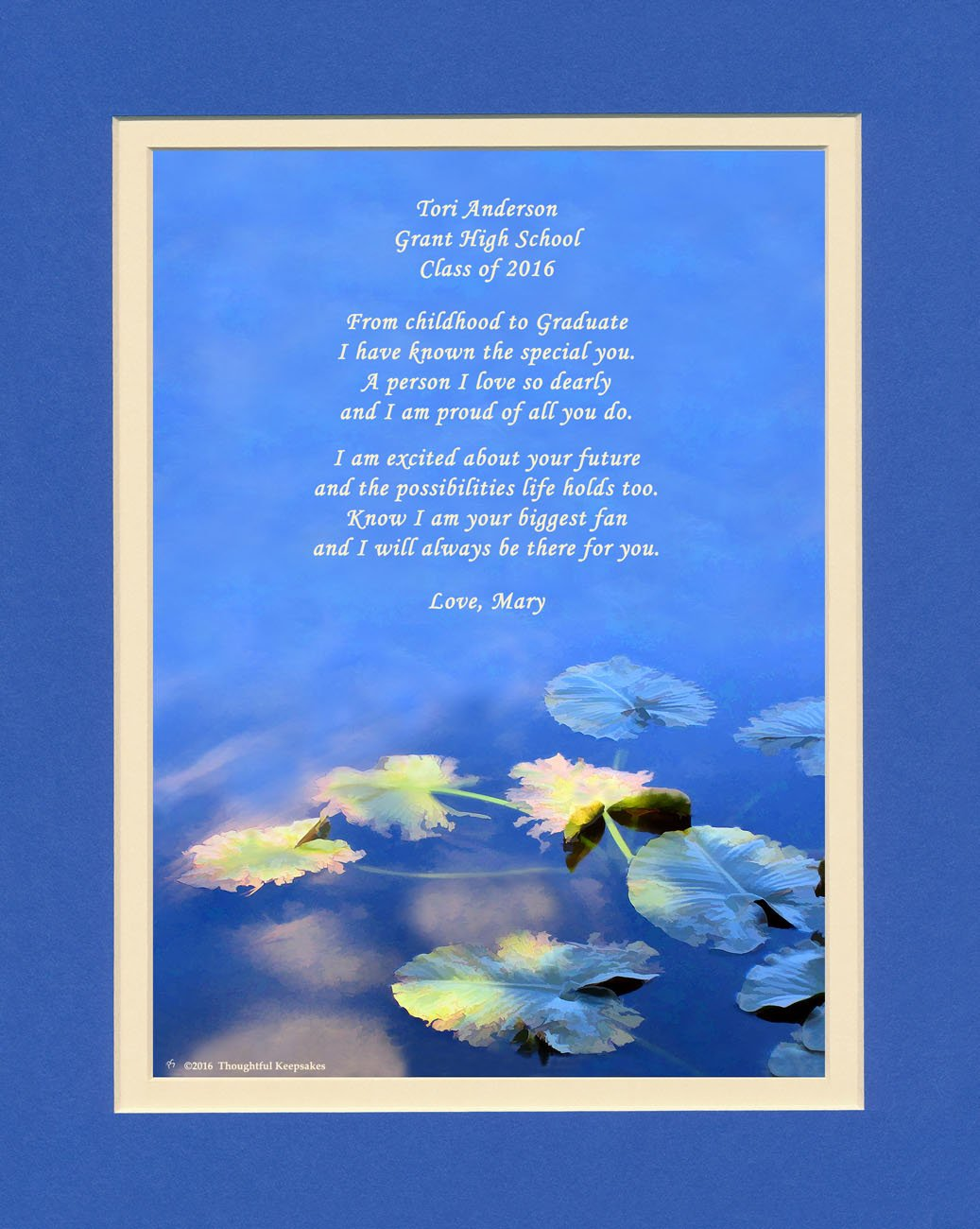 Personalized Gift for Graduation, Water Lily Leaves Photo with ''From Childhood to Graduate'' Poem, 8x10 Double Matted. A Special Graduation Gift for Graduate