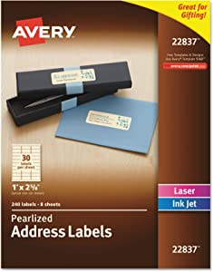 AVERY Pearlized Ivory Address Labels, 1 x 2.62 Inches, Pack of 240 Labels (22837)