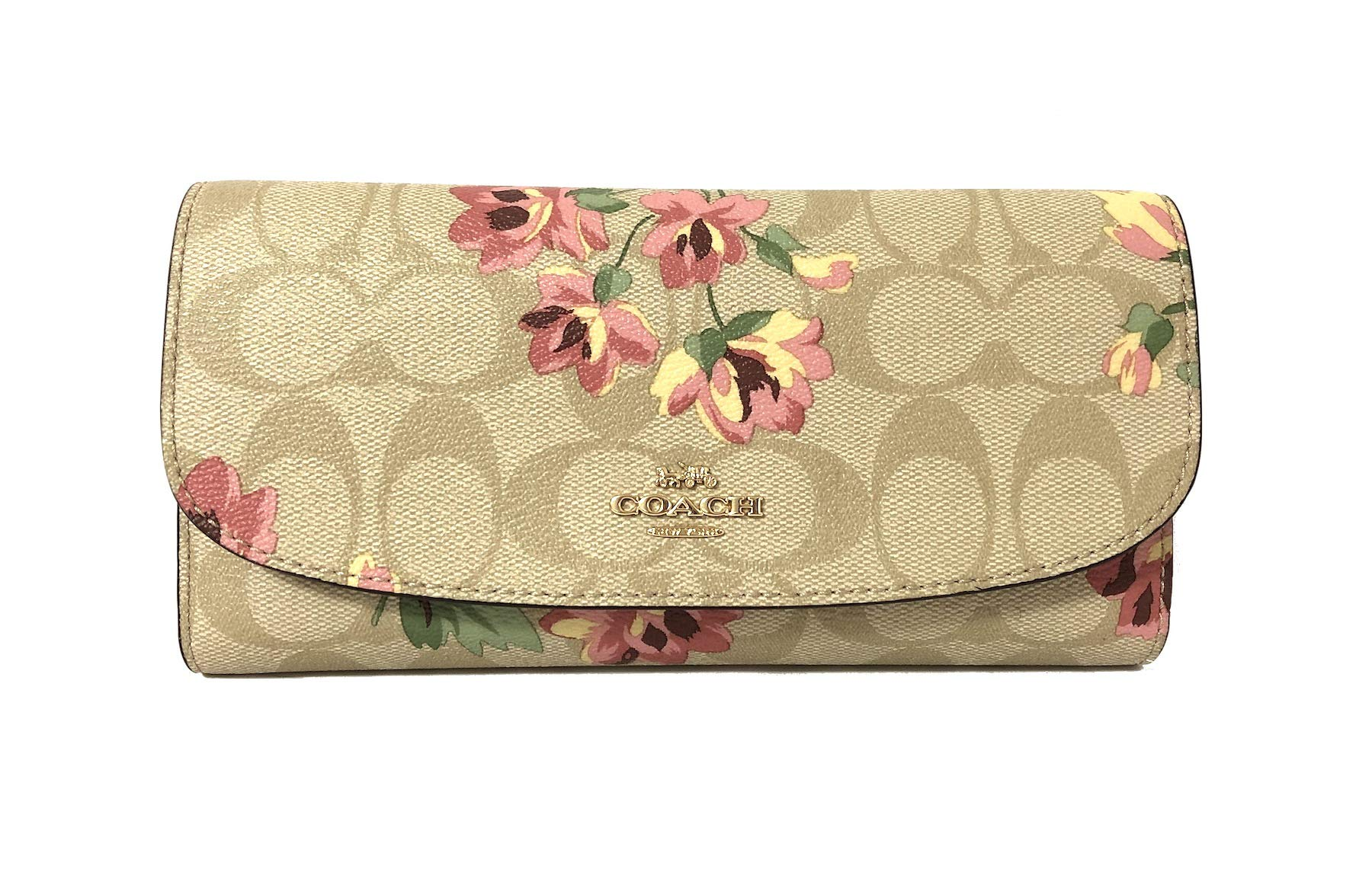 Coach Signature PVC and Leather Checkbook Wallet (IM/Light Khaki Pink Multi)