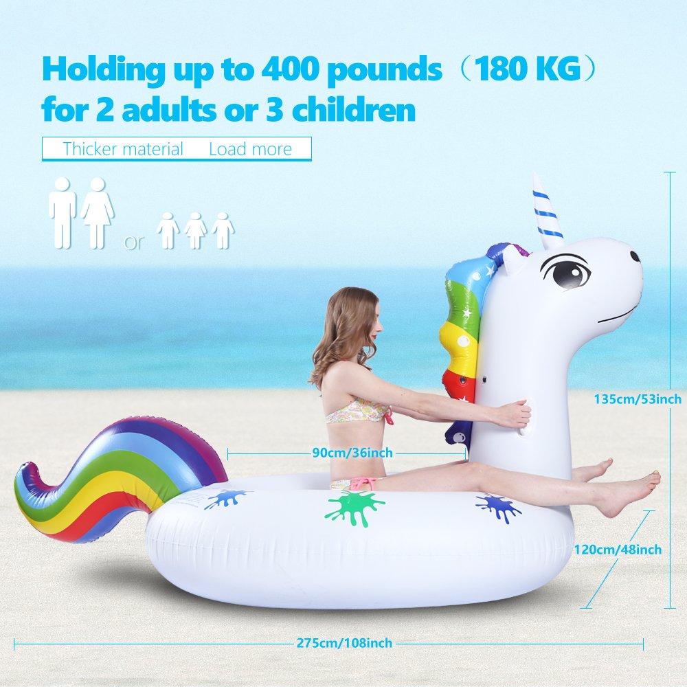 Hinchable Unicornio, Gigante Flotador Colchoneta Hinchable de Piscina, Fiesta Inflable de los Adultos del Juguete del Agua de la Natación, para 2-3 Personas ...