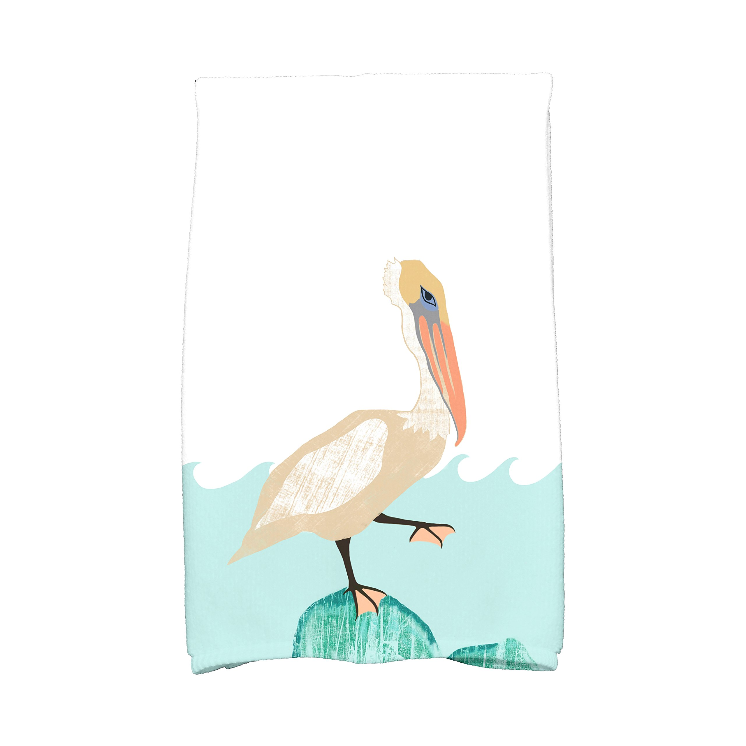 E by design KTAN460BL29TA9 Bird Wave Animal Print Kitchen Towel, 16'' x 25'', Taupe