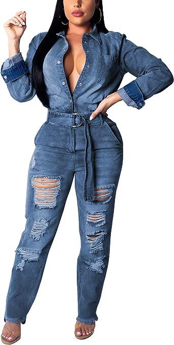 Azastar Womens Long Sleeve V Neck Wide Leg Pants High Waist Jumpsuit Rompers