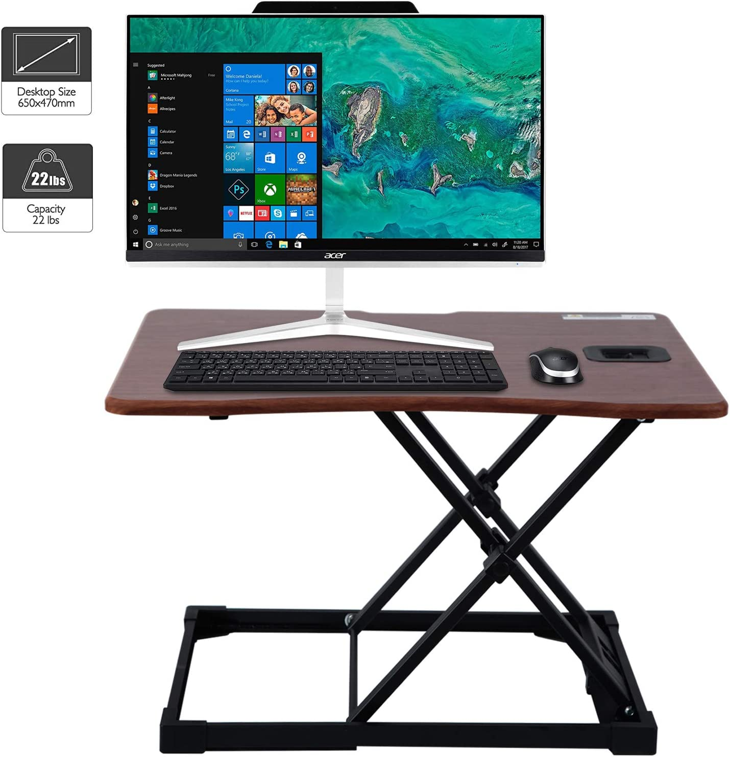 WorkGroup Height Adjustable Desk Converter 25.6 inches | Sit Standing Desk Riser Computer Workstation Home Office Tabletop for Monitor and Laptop