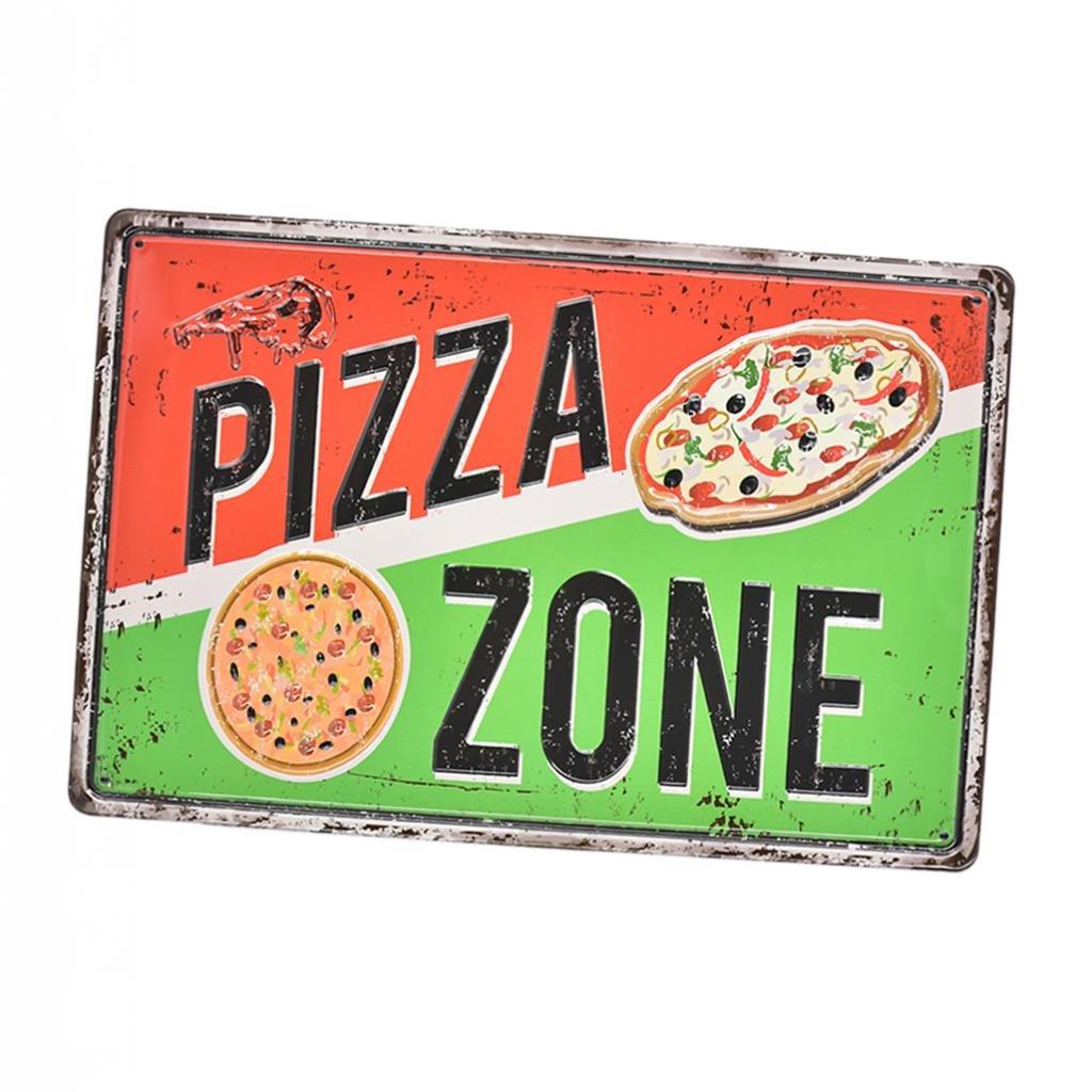 non-brand Placa Letrero Cartel de Pared Metálico de Estilo Retro Vintage Decoración para Barra Cafetería Restaurante - Zona DE Pizza