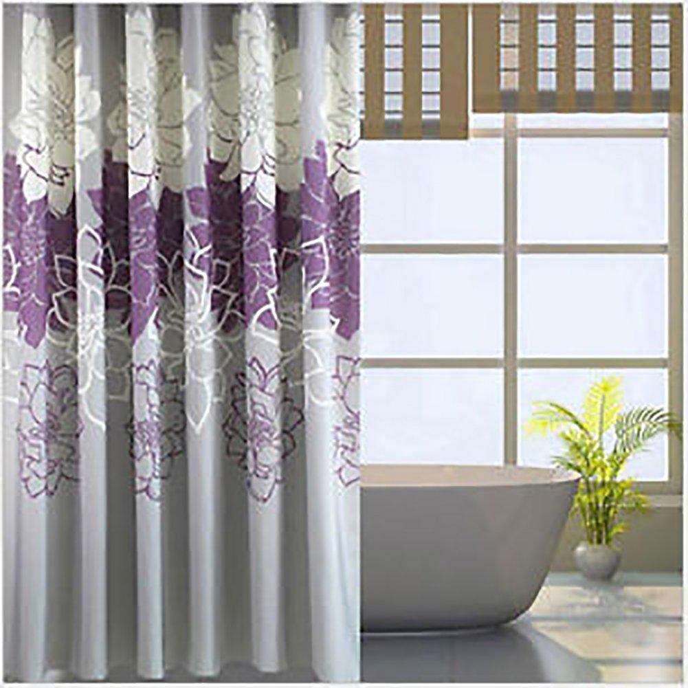 Fujia Modren flower Bathroom Curtain Polyester Waterproof Shower Curtain Set (Yellow)