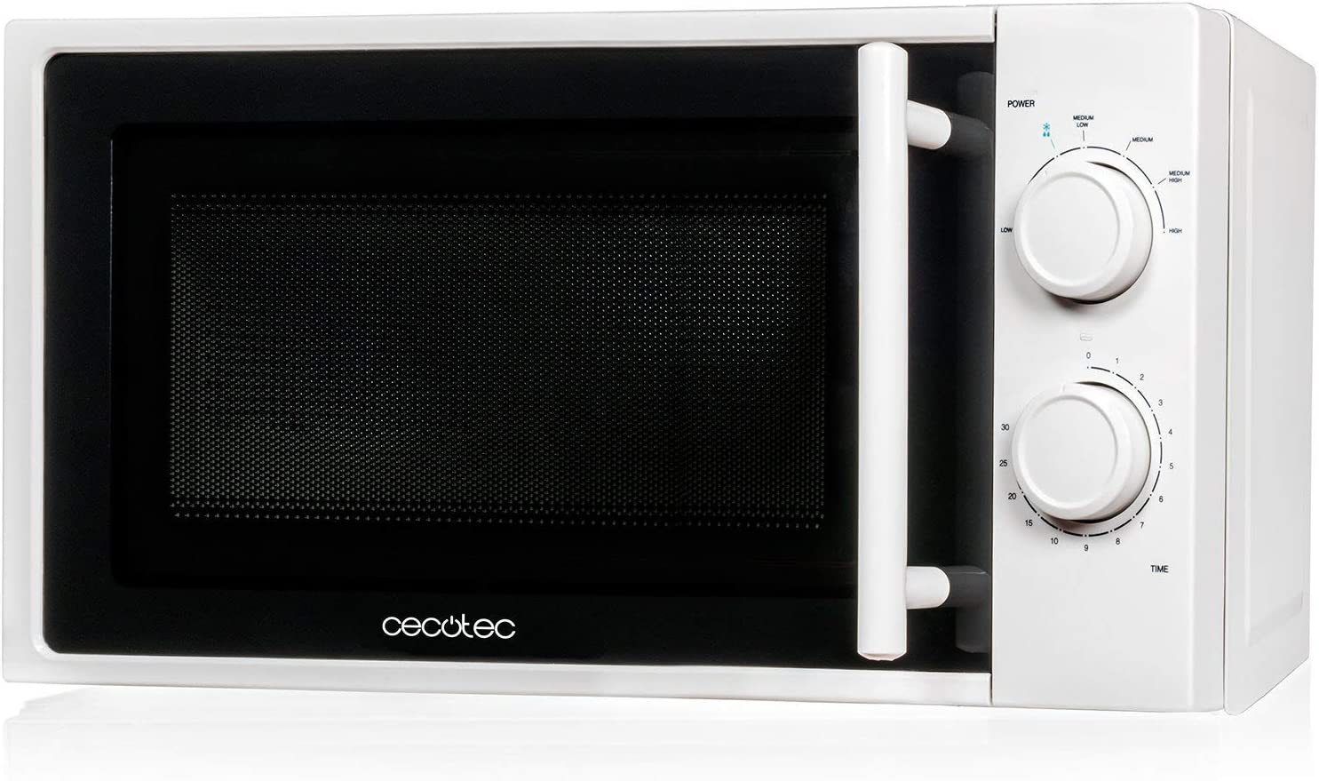 Cecotec Microondas Sencillo White Capacidad de 20L, 700 W, temporizador hasta 30 min, 6 niveles de potencia