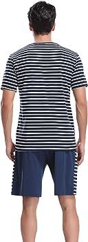 Aibrou Pijama Hombre Corto Raya Verano Set, Pijama Algodón Camiseta y Pantalones Suave Comodo Ropa de Dormir para Hombre S-XL: Amazon.es: Ropa y accesorios