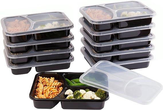 Life Story Bento To Go Fiambreras con 3 Compartimientos, Porta Alimentos, Apto para Microondas, Sin BPA, Fiambrera Infantil, Fiambrera para el Trabajo - 10pcs: Amazon.es: Hogar