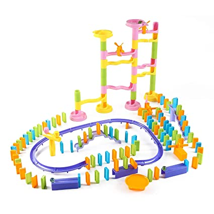 Magicwand Set of Educational Domino Rally Building Blocks Racing Tile, 188 Pieces