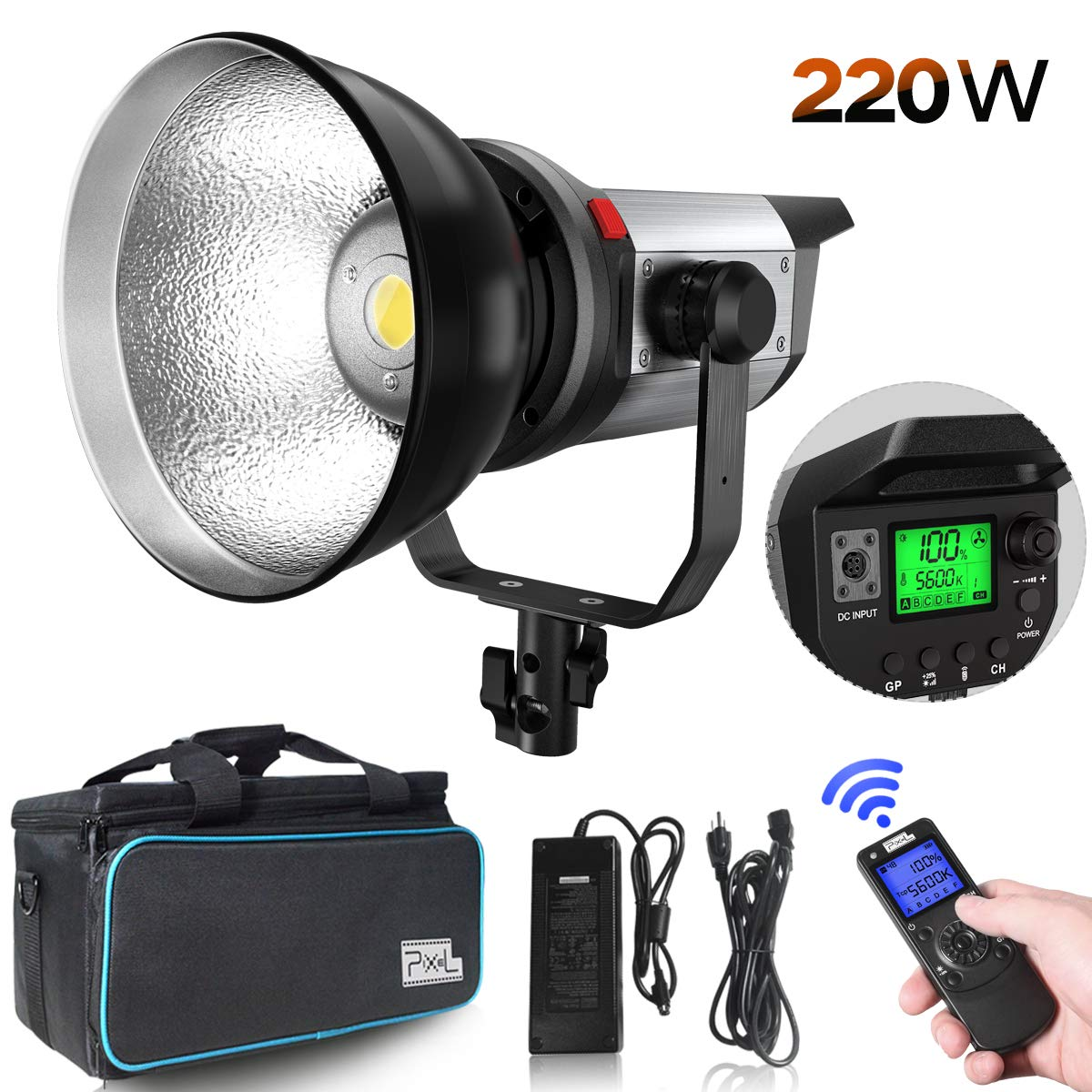 Pixel LED Video Light - 220W High Power Continuous Output Lighting 5600k with Bowens Mount, 66,000Lux@0.5m Support Group Control, 3 Lighting Effect, Auto Cooling Fan, Wireless Remote, CRI 97+ TLCI 99+ by PIXEL