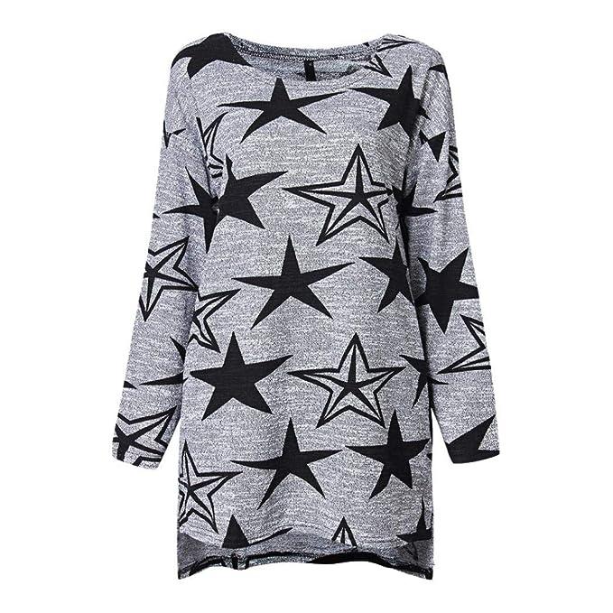 DEELIN Camisa De Manga Larga para Mujer De OtoñO E Invierno Camiseta Estampada Star Casual Estilo