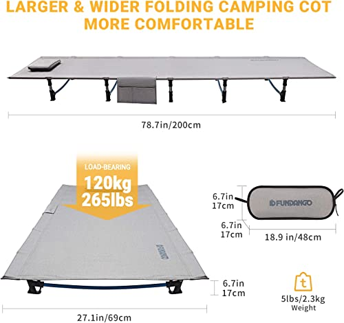 FUNDANGO Extra Long Ultralight Folding Compact Camping Cot Bed 78.7 x 27.1 x 6.7 5lbs for Adult, Backpacking, Hiking, Camping, Travel, Office Nap, Outdoor, Indoor, Support 265lbs, Side Pocket