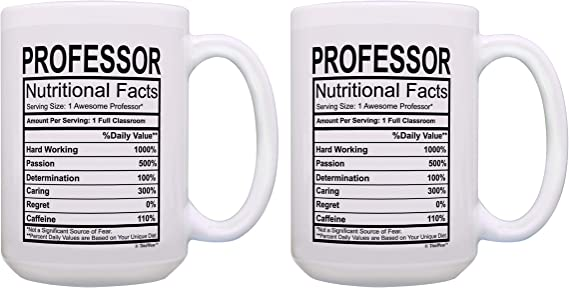 Professor Mug Professor Nutrition Facts Professor Appreciation Gifts 15 oz Coffee Mug Tea Cup White