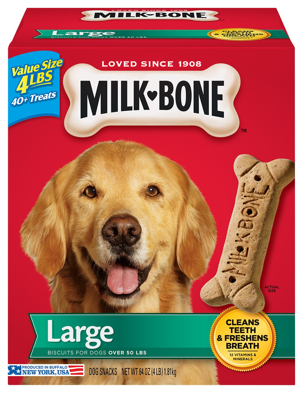 Milk-Bone Original Dog Treats for Large Dogs, 4 Pounds, (Pack of 2)
