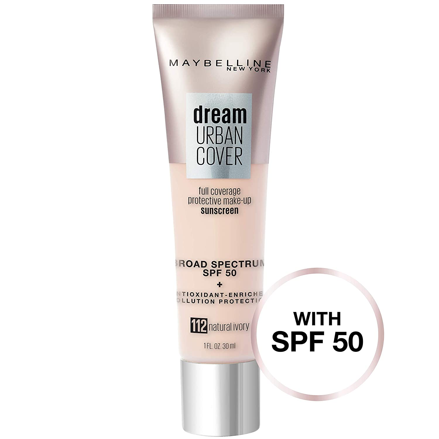 Maybelline Dream Urban Cover Flawless Coverage Foundation Makeup, SPF 50, Natural Ivory