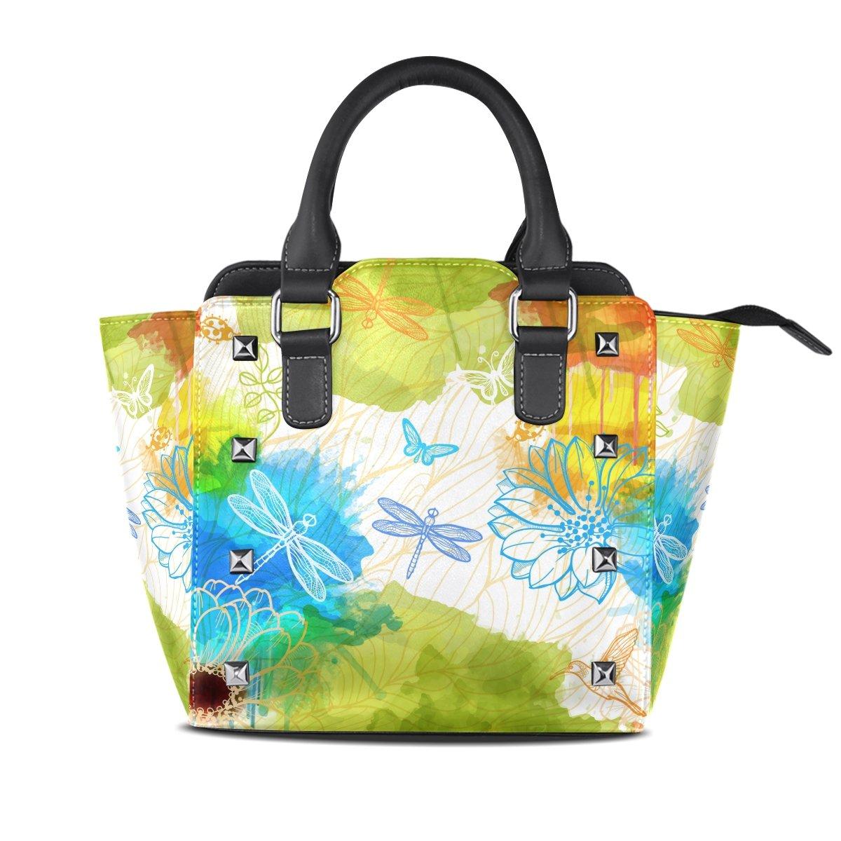 imobaby Fantasy Dragonflies PU Leather Top-Handle Handbags Single-Shoulder Tote Crossbody Bag Messenger Bags For Women