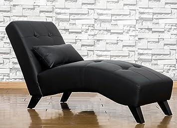 Amazon.com: Merax Modern Chaise Lounge Chair Black Leatherette ...