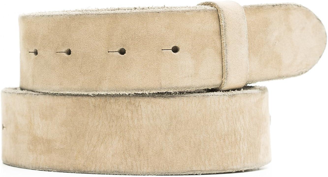 VaModa Belt, Cinturón en piel, modelo vintage, color gris, sin hebilla
