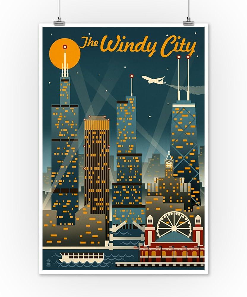 Illinois Retro Skyline 78371 16x24 SIGNED Print Master Art Print - Wall Decor Poster The Windy City Chicago