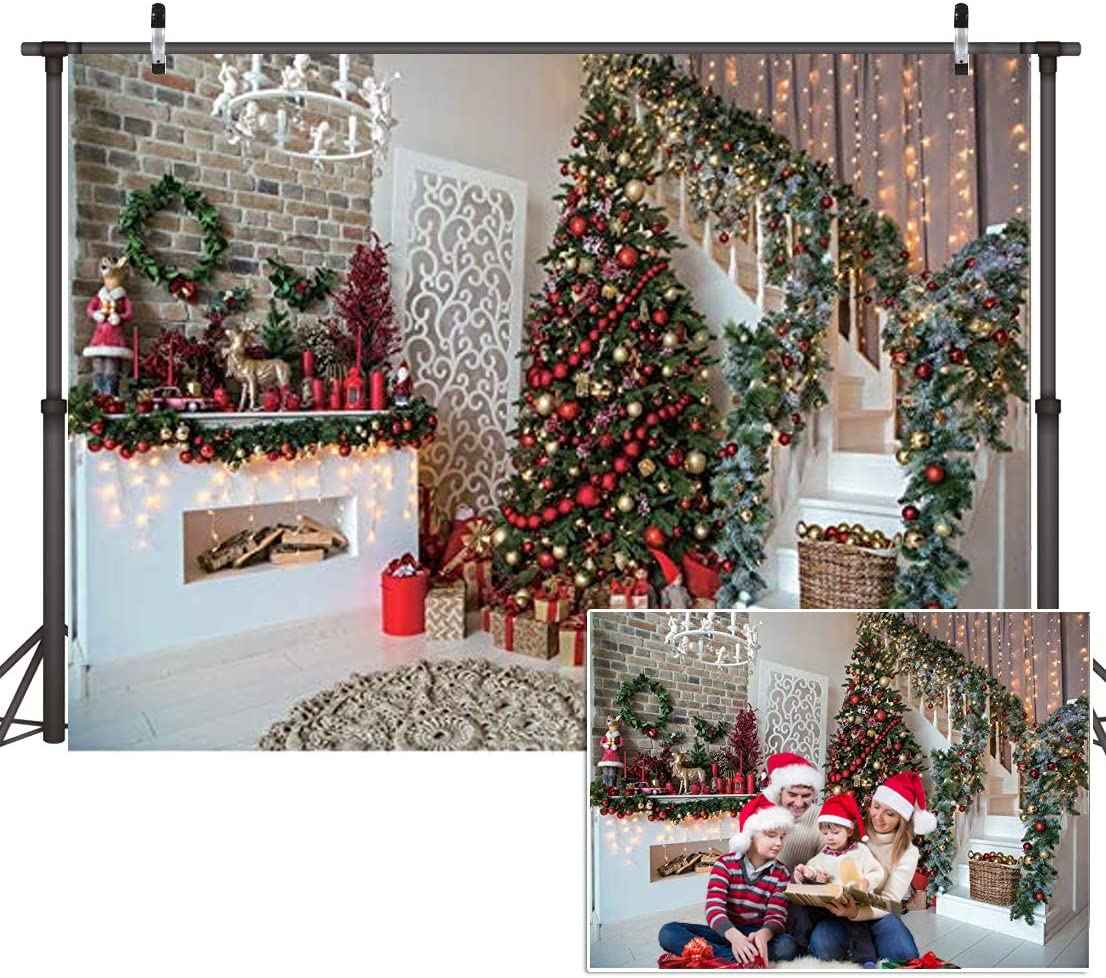 CYLYH 8x6FT Christmas Backdrops Christmas Fireplace Xmas Tree Gift Holiday Party Home Decoration Christmas Photo Backdrops Studio Booth Props D411