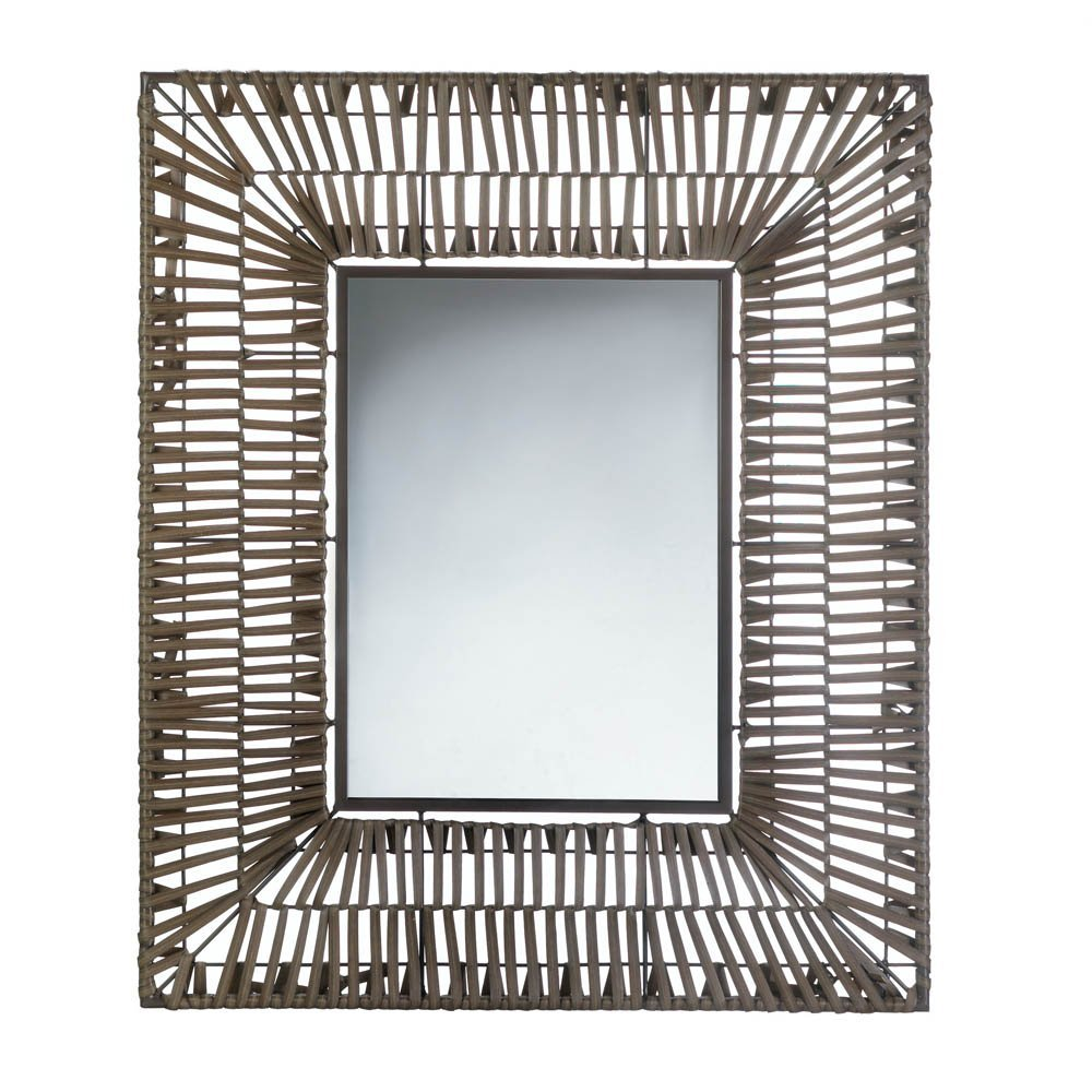 Accent Plus Bathroom Wall Mirrors, Modern Wall Mirror Decor Brown Plastic Faux Rattan by Accent Plus