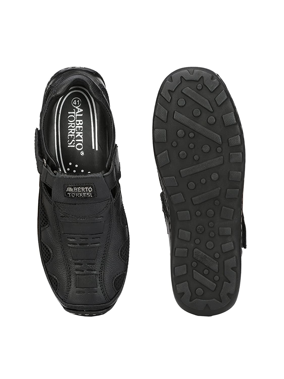 53fe6d0c55a9c Alberto Torresi Antonio Black Sandals  Buy Online at Low Prices in India -  Amazon.in